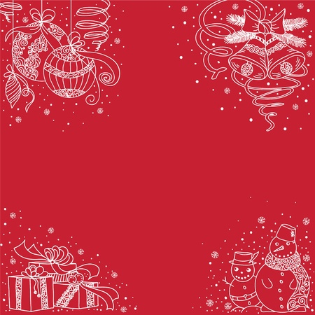 Set of corner icon of Christmas things Vector