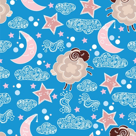Seamless pattern with sleepy heads Vector