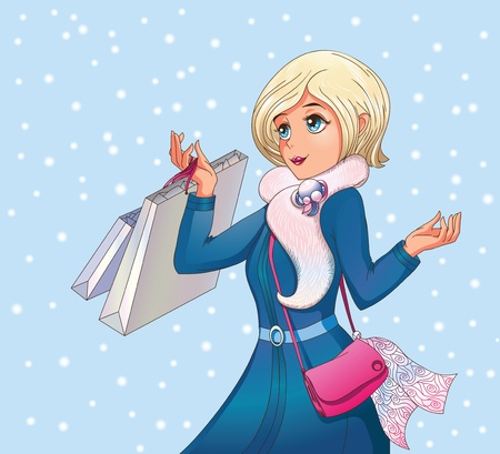 Modern Snow maiden with shopping bags