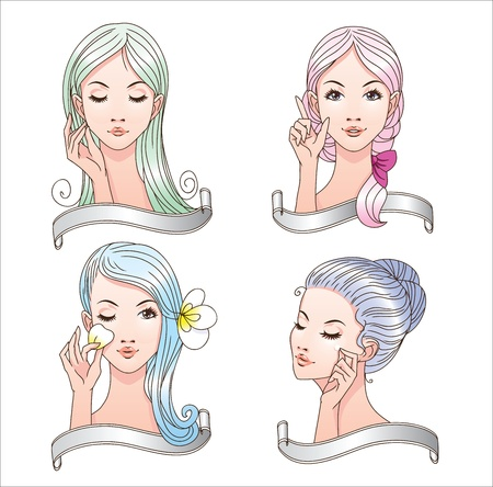 4 girls heads and hands with copy space banners for your text Stock Vector - 10791393