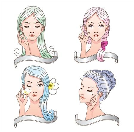 las 4 niñas cabezas y manos con pancartas de espacio de copia para el texto Ilustración de vector