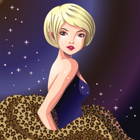 Blonde girl with rich leopard fur stole