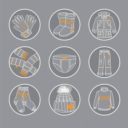 mann unterw�sche: Kreise mit verschiedenen Arten von Winter-Zubeh�r Illustration