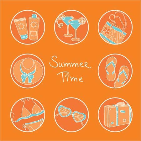 sunscreen: Circles with different symbols of summer time Illustration