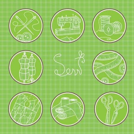 costurera: C�rculos con los diferentes s�mbolos de los dise�adores de moda de trabajo