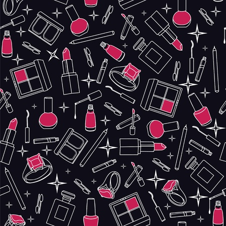 Stylish black white red seamless pattern