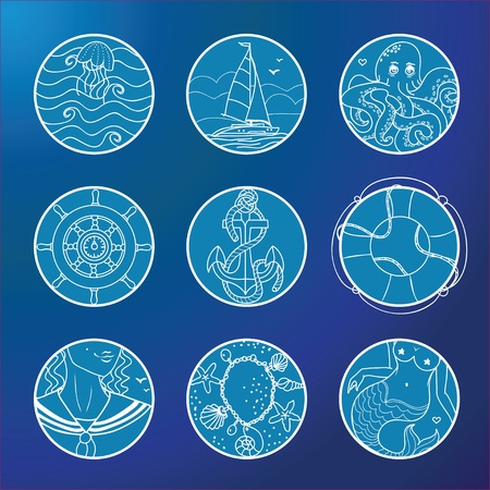 Symbols of sea, sailors and adventure Vector