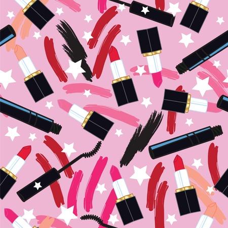 Swatches mascara lipstick seamless pattern