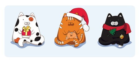 Cats with gift, Santa's hat and Christmas tree Illustration