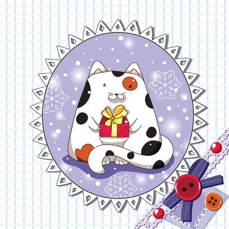 Scrapbook greeting card with cute cat  Vector