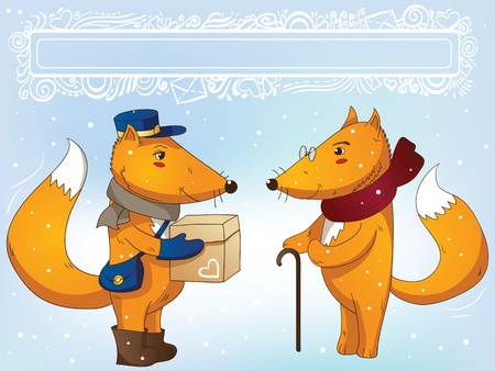 Postman delivers parcel for grandfox free frame Vector