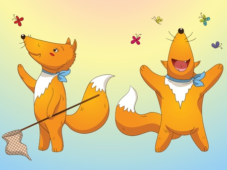 Summer holiday foxes play around Vector