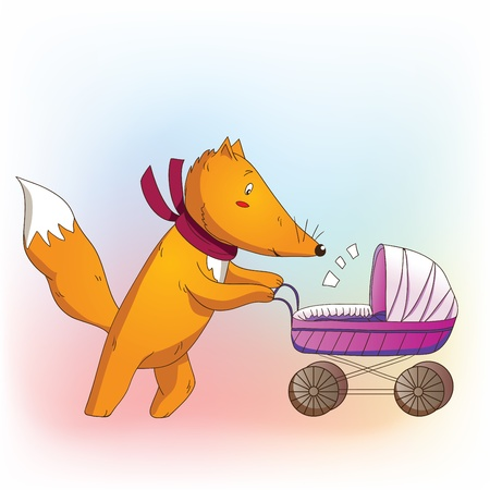 Fox daddy with baby carriage Vector
