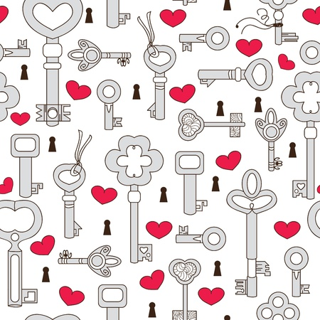 latch: Seamless pattern with hearts and keys Illustration