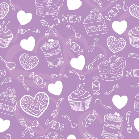 Sweet cute valentine desserts pattern Vector