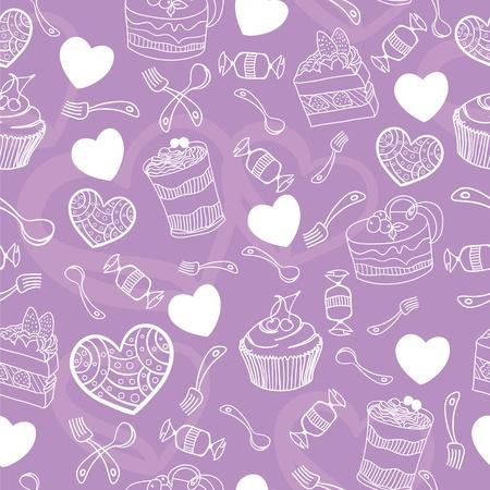 vanilla cupcake: Sweet cute valentine desserts pattern