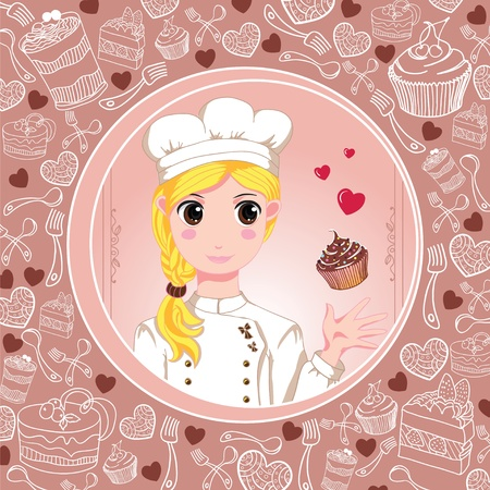 Patisserie chef with love and cupcakes Vector