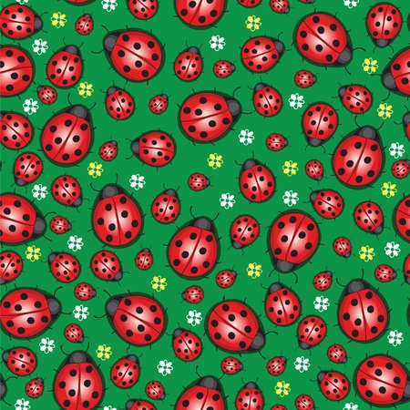 spotted flower: Summer background with millions of ladybug Illustration