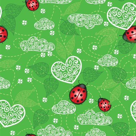 Background with hearts, ladybug  and leaves Vector