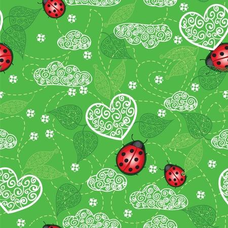 Background with hearts, ladybug  and leaves Illustration