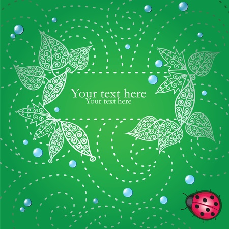 Card with decorative leaves and ladybug Vector