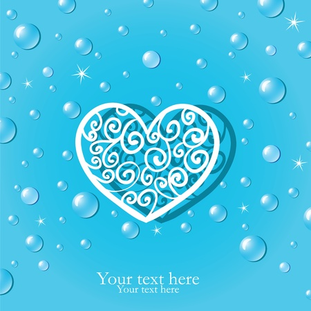 Decorative heart and clean dew Stock Vector - 12054959