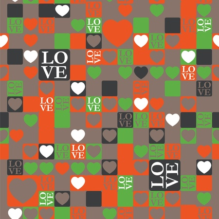 LOVE and heart modern pattern