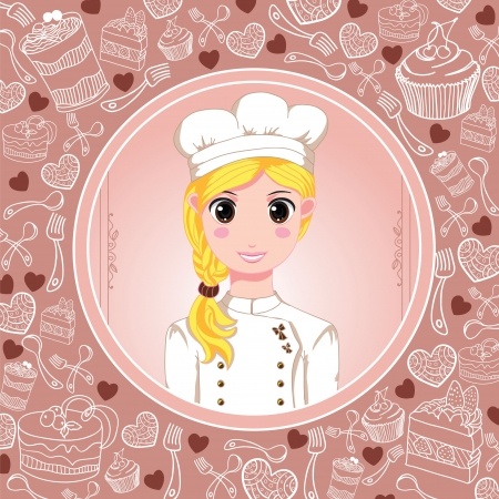 Desserts frame and cute patisserie girl Vector