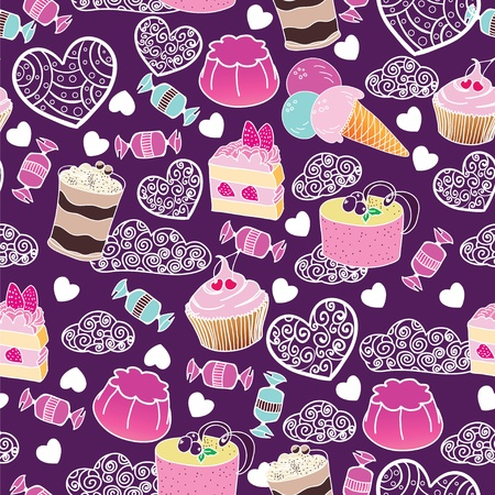 Sweet cute valentine desserts pattern Stock Vector - 12054957