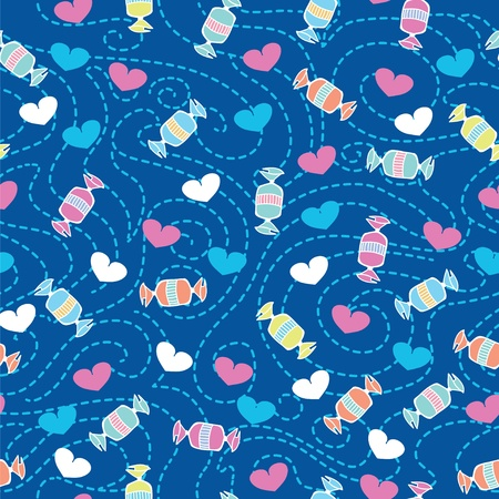 Seamless pattern with candies and hearts Stock Vector - 12054949