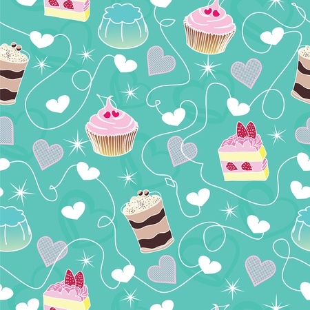 Sweet cute valentine desserts bachground Vector