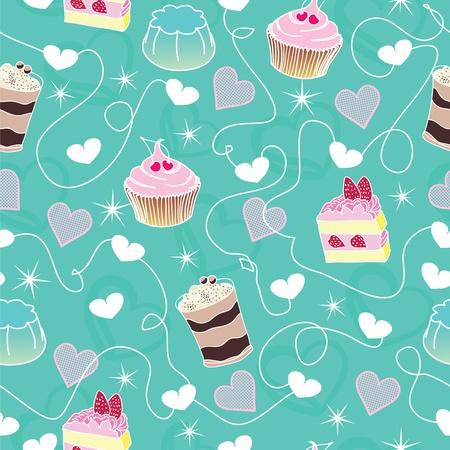 Sweet cute valentine desserts bachground Stock Vector - 12054953
