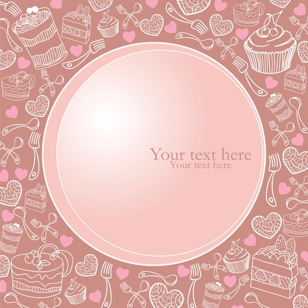 Card with sweet frame Vector