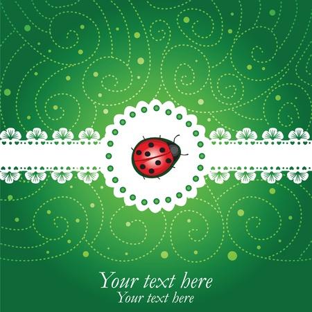 Ladybug green & lace  background Stock Vector - 12197289
