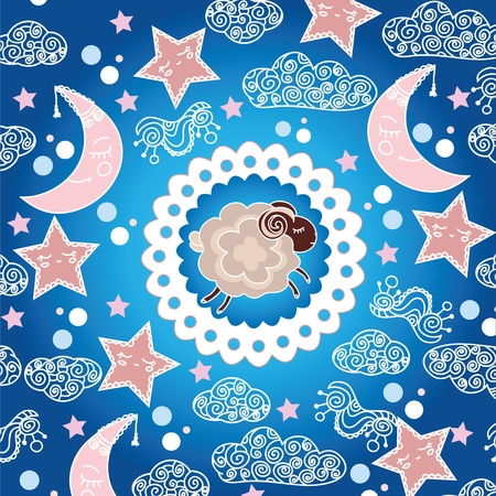 Sweet sleepy sheep in the sky Vector