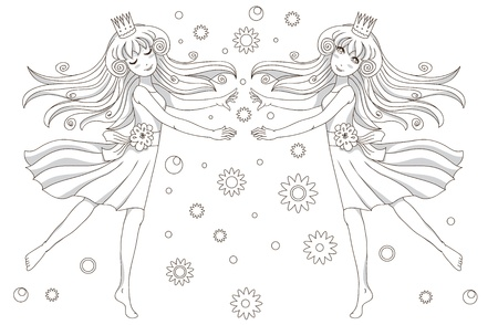 closed ribbon: Coloring book page with 2 princesses Illustration