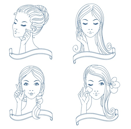 Outline beauty girls set with banners Vector