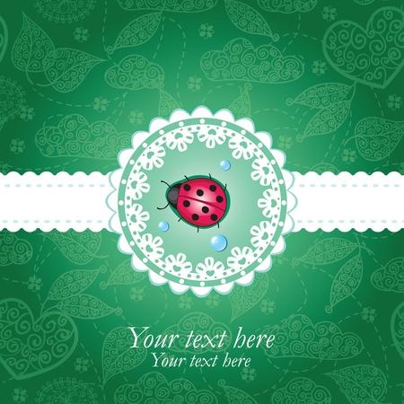 lady bug: Ladybug green & lace background