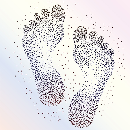 footprints in sand: Abstract dotted human footprints background  Illustration