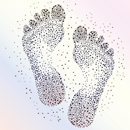 foot step: Estratto punteggiato sfondo impronte umane