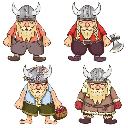 scandinavian people: Winter, summer, regular and war time viking Illustration