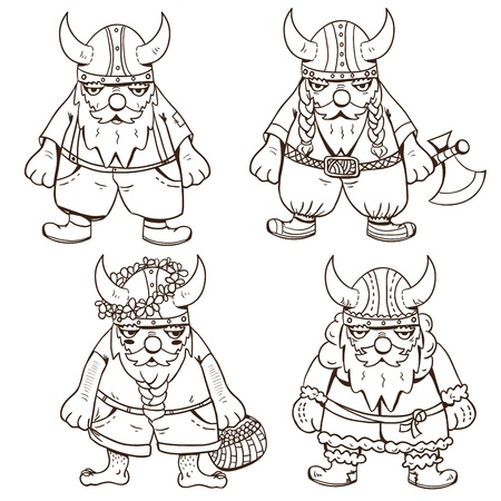 scandinavian people: Outline picture of four cute vikings