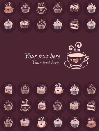 vanilla cupcake: Simple coffee and sweets lovers card