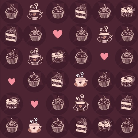 Love sweet and coffee seamless pattern Vector