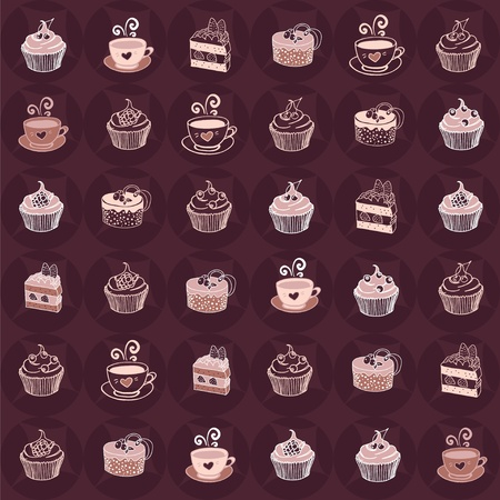 cake background: Love sweet and coffee seamless pattern