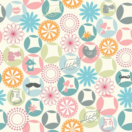 Pastel color spring seamless chaotic pattern Vector