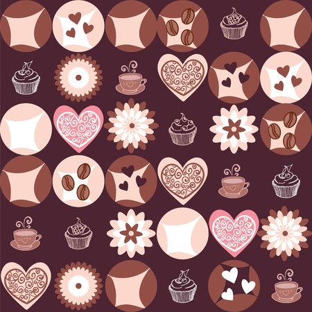 Vanilla cookies and cups of coffee seamless pattern Vector