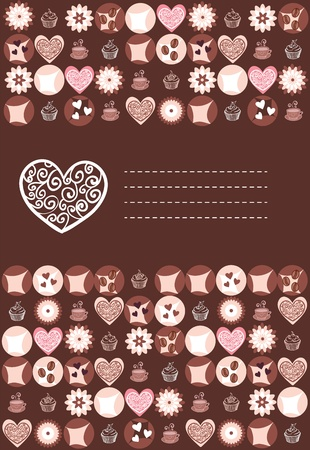 Sweet hearts and chocolate card with place Vector