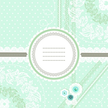 girly: Peppermint and scrapbook invitation card