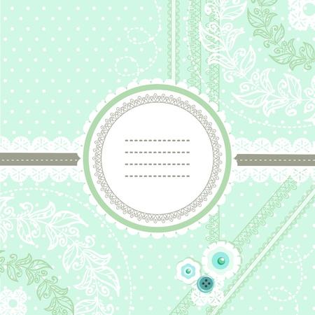 Pfefferminz-und Scrapbook-Einladungskarte Vektorgrafik